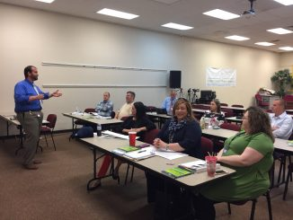 Principal Brian Frederick is shown leading the Aspiring Leaders group during a meeting on March 28, 2018.