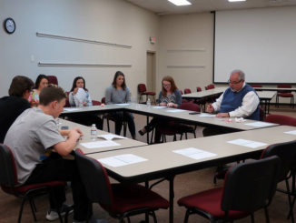 Shown are members of the Superintendent's Student Council during the 2018 school year meeting to discuss topics and ideas.