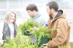 Courtney Miller is shown with two students in the greenhouse looking at ferns.