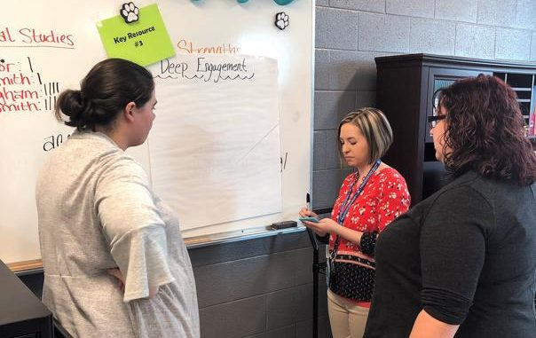 Shown are three teachers participating in a carousel activity as they visited each key resource and defined characteristics of it on a poster.