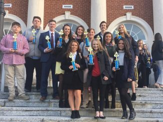 Knox Central students are shown with trophies and medals following regional competition.