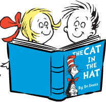 The Cat in the Hat book logo with children reading clipart