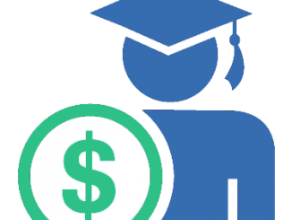 Scholarship icon showing graduate with dollar sign