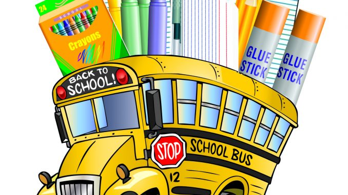 Clipart school bus shown with supplies behind the bus roof.