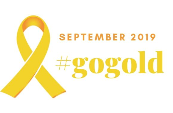 gold ribbon with text September is #gogold month