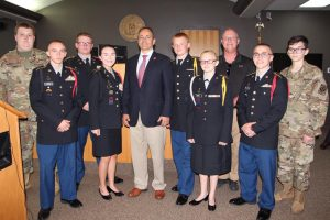 JRTOC cadets stand in the court room with Governor Bevin during his visit to Knox County