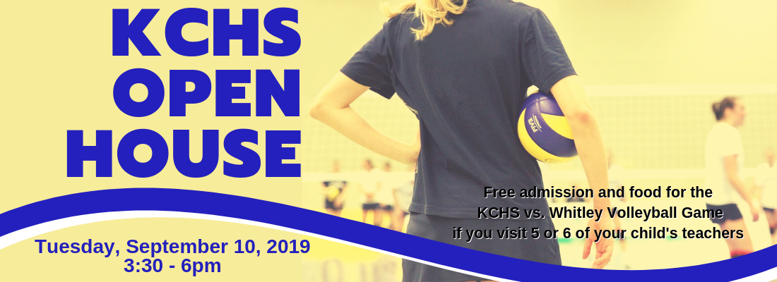 Graphic showing back of a volleyball player with text KCHS Open House.  Families receive free admission to the volleyball game.  Details in post.