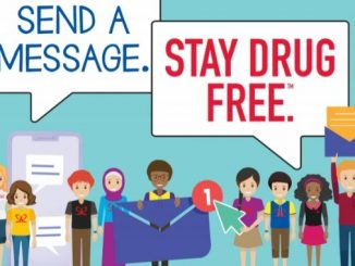 """Infographic showing students holding signs """"send a message"""" and """"stay drug free"""""""