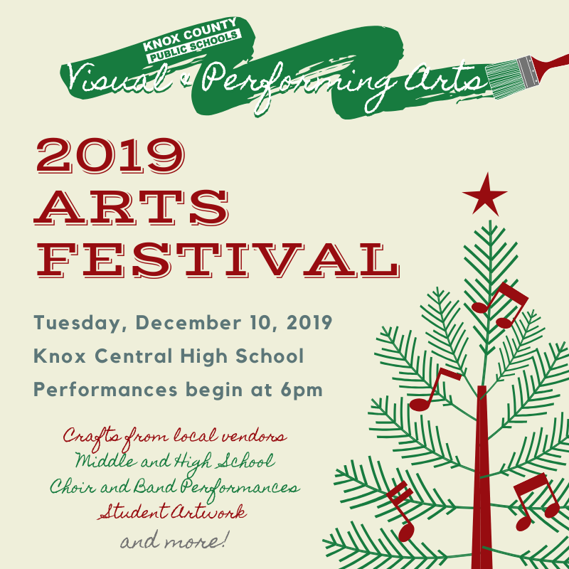 Arts Festival graphic featuring tree on cream background with text overlay of details.