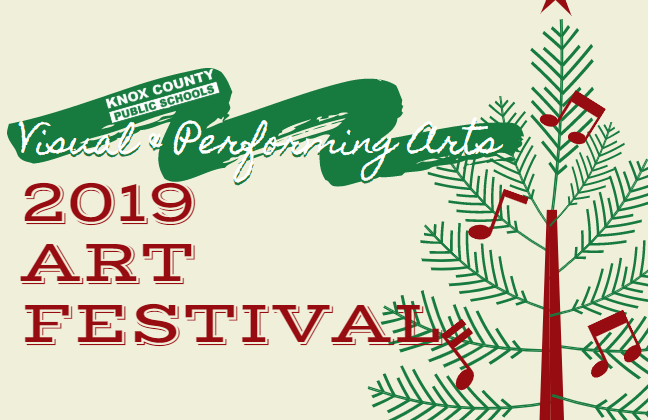 Arts Festival logo with Christmas tree and paint stripe on background.