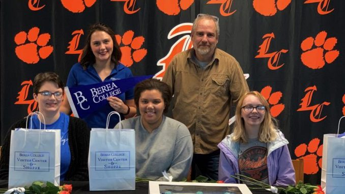 Three Berea commits are shown with admissions officer and school supporter.