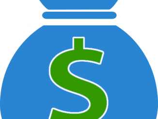Clipart blue sack with green dollar sign printed on it.