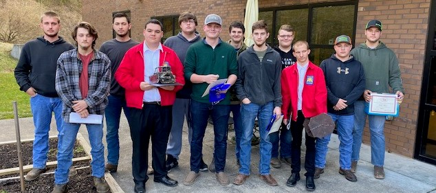 Skills USA participants standing outside Bell ATC.