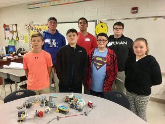 Elementary students pose for a photo during a recent mentor experience provided by high school students at Knox Central.