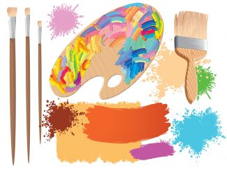 Clipart showing artist palette representing Knox Co Art Show