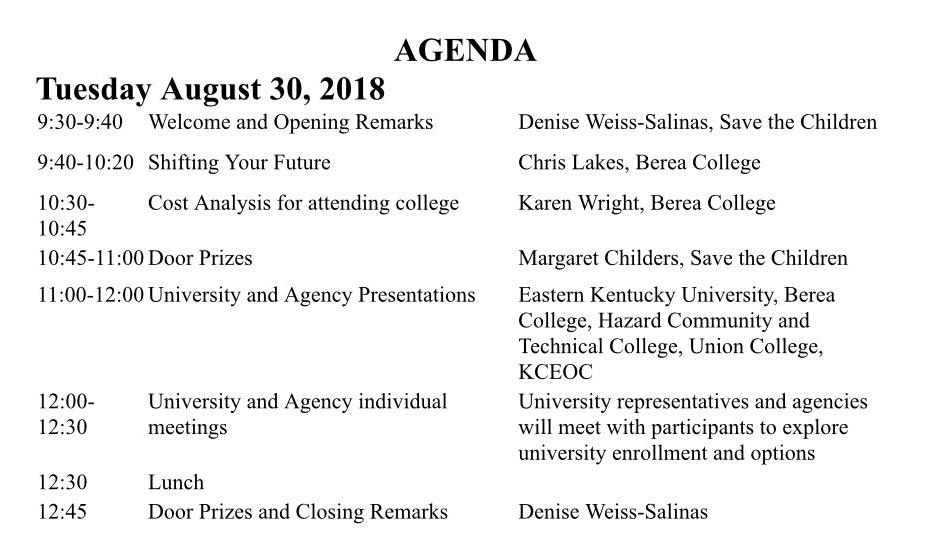 Agenda from Partner Event
