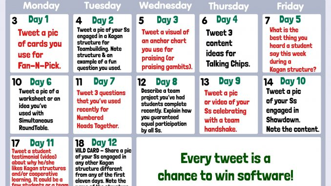 12 Days of Kagan calendar