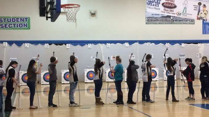 Lynn Camp students taking aim at archery competition.