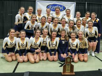 Knox Central Cheerleaders show off trophy earned at the KHSAA cheer competition.