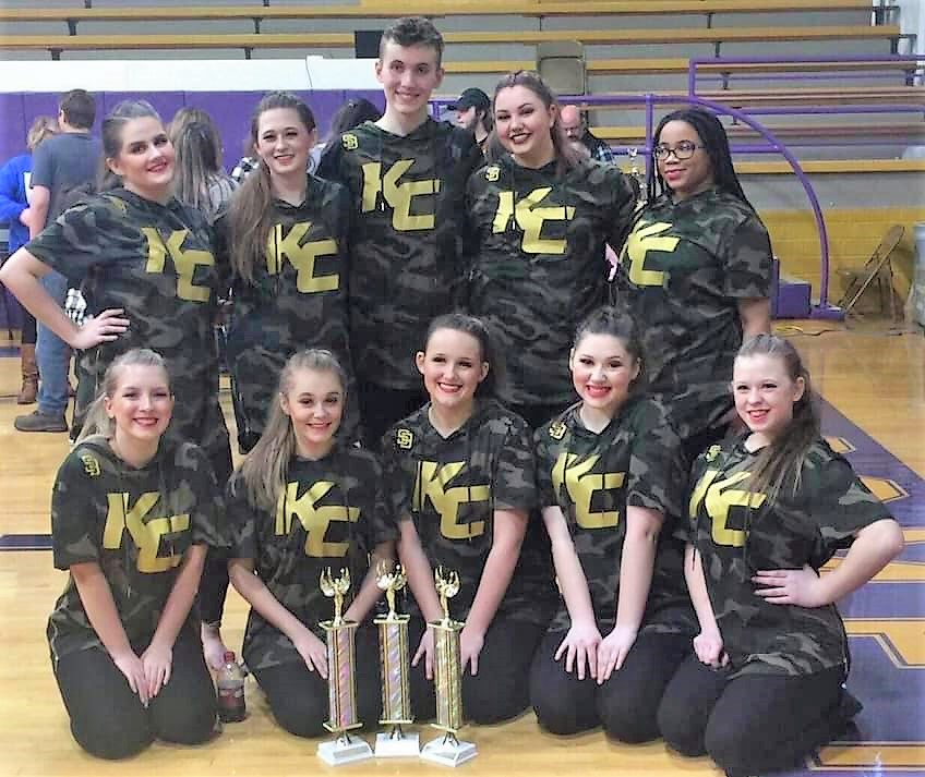 Knox Central Dance Team poses with trophies from the KDCO Regional Competition