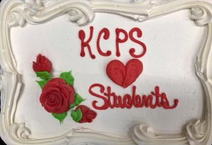 """The Superintendent's Student Council was greeted with a """"KCPS loves students"""" cake at the February 14th meeting."""