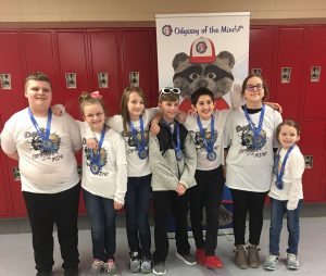 Dewitt Elementary's Odyssey of the Mind team poses for a first place photo at the east-region tournament.