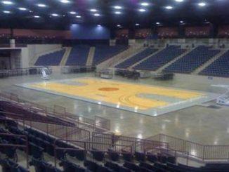 13th Region basketball tournament setup at The Arena