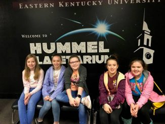 Dewitt Elementary students are shown visiting the Planetarium at Eastern Kentucky University.
