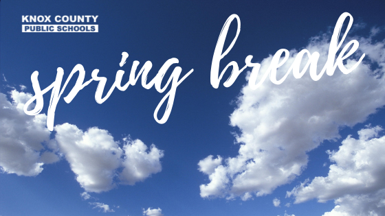Photo of clouds with spring break text on top and the KCPS logo