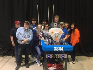 Lynn Camp Wildbots team shown with their robot at the Smoky Mountain regional