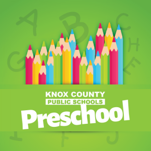 KCPS preschool text on a green background with colored pencils as the image and the alphabetic behind