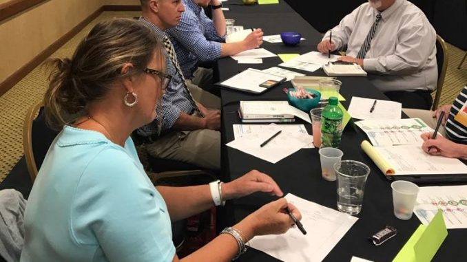 Knox County leaders are shown working at a table to identify characteristics of a growth mindset.