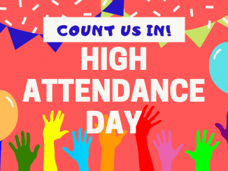 Infographic for High Attendance Day showing raised hands and text on top.