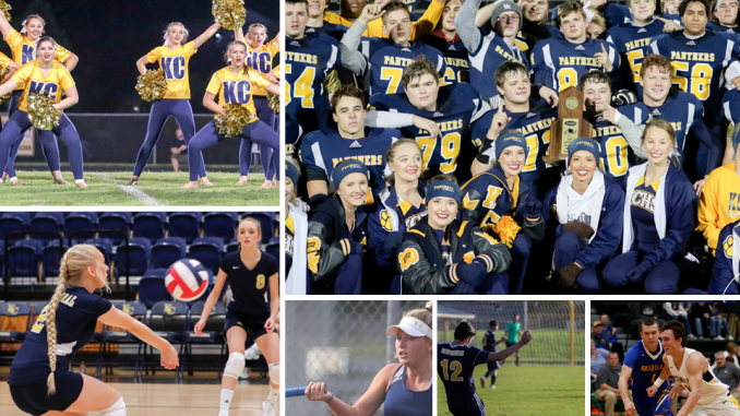 Collage of Knox Central sports photos from football, basketball, soccer, cheerleading, volleyball and tennis.