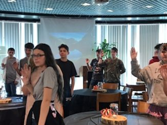 Students stand for the installation ceremony of new officers at Lynn Camp JAG.