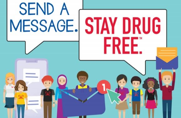 "Infographic showing students holding signs ""send a message"" and ""stay drug free"""