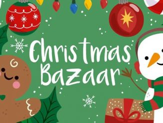 Clipart - Christmas Bazaar with gingerbread man and snowman with candy canes and ornaments.