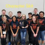 Members of the character skit group pose for photo.