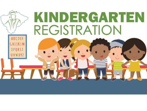 Kindergarten Registration clipart with children in a school room.