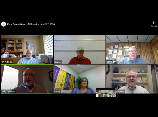 Knox County Board members are shown in a Zoom conference call.