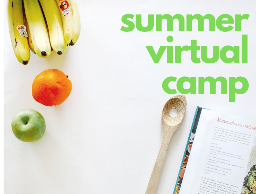 Summer Virtual Camp logo with food and recipe book background