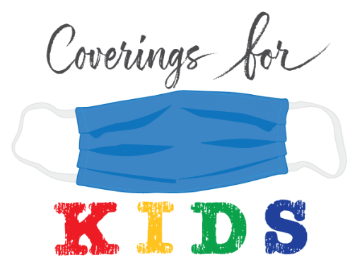 Logo for Coverings for kids with mask in center between text