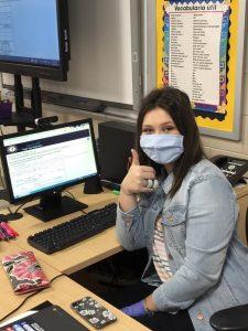 Hana Messer shown completing the online voter registration