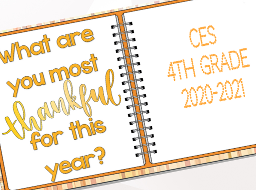 Small photo of the front slides of student book, title what are you most thankful for this year?