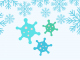 snow flakes with three virus clipart images among flakes