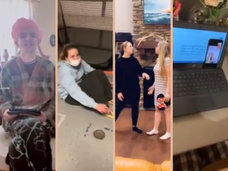 Framed photo showing four Beta members performing while being recorded using TikTok and other video recorders.