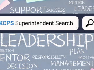 Superintendent search icon showing search box and background of leadership words