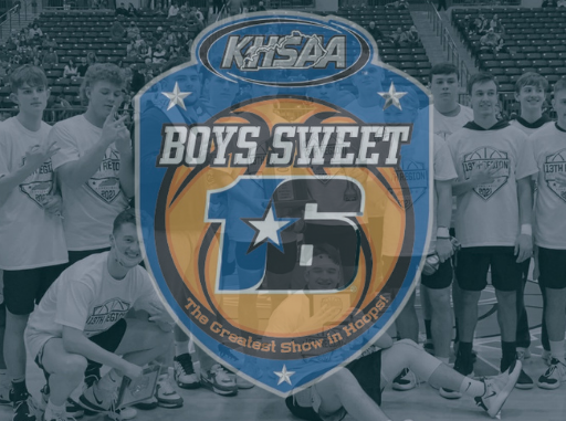 Knox Central boys team behind sweet 16 logo