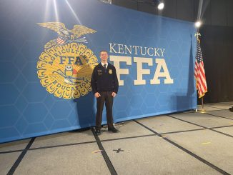Elijah Brock is shown in front of the state FFA backdrop during the 2021 conference.