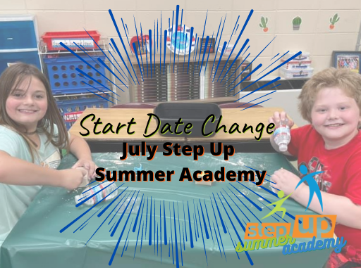 Photo of two students working on a project together with text overlay July Step Up Summer Academy